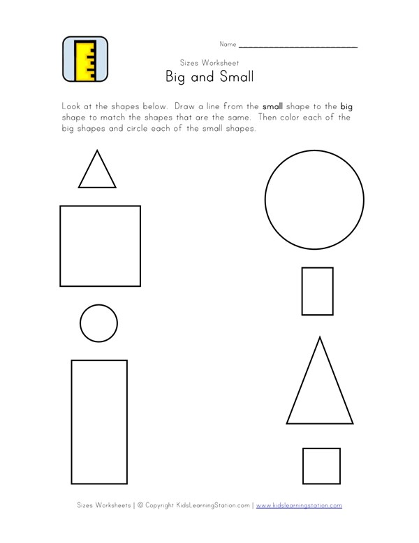 Big and Small Matching Worksheet - Black and White | All Kids Network