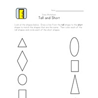 tall short matching worksheet