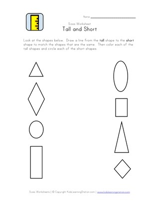 Tall and Short Worksheets - Kids Learn Height   All Kids Network