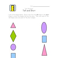 tall to short matching worksheet