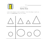 compare same sizes worksheet