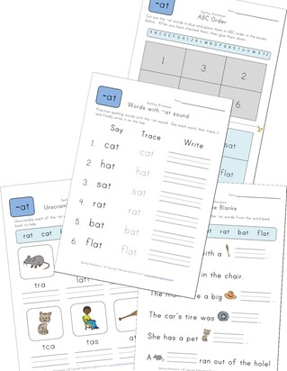 spelling -at words worksheet