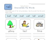 Unscramble -all Words worksheet