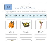 Unscramble -est Words worksheet