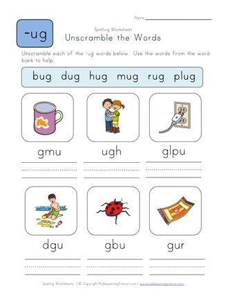 Unscramble -ug Words worksheet