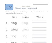 Say, Trace and Write -ing Words worksheet