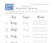 Say, Trace and Write -ug Words worksheet