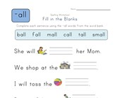 Complete the Sentences with -all Words worksheet