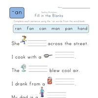 Complete the Sentences with -an Words worksheet
