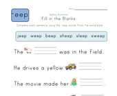 Complete the Sentences with -eep Words worksheet