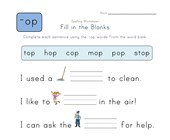 Complete the Sentences with -op Words worksheet