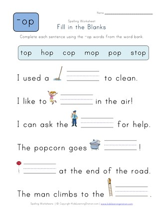 Complete The Sentences With Op Words All Kids Network - Download Fill In The Blank Words For Kindergarten Worksheets Pictures