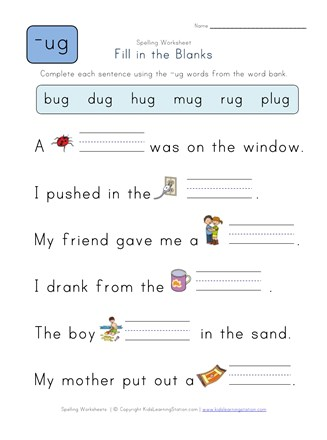 Complete The Sentences With Ug Words All Kids Network - Download Fill In The Blank Words For Kindergarten Worksheets Pictures