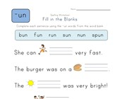 Complete the Sentences with -un Words worksheet