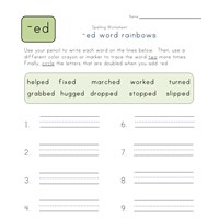 ending -ed word rainbows worksheet