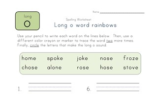 long o word rainbows worksheet