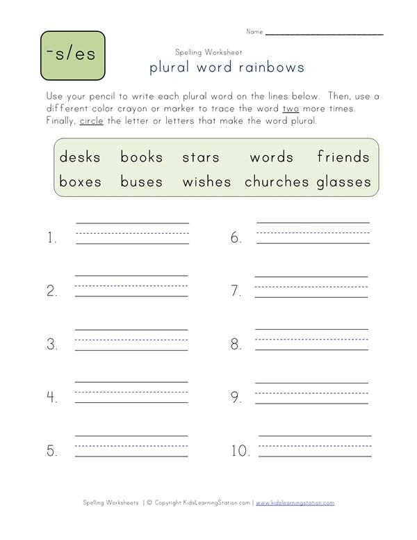 Plural S Es Word Rainbows All Kids Network