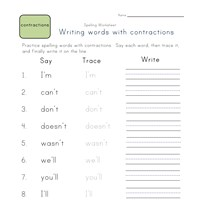 say, trace and write contractions worksheet