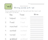 say, trace and write -ed words worksheet