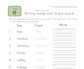 say, trace and write long e and ey words worksheet