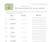 say, trace and write long o words worksheet