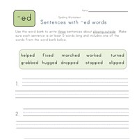 sentences with -ed words worksheet