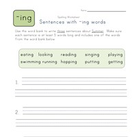 sentences with -ing words worksheet