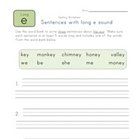 sentences with long e and ey words worksheet