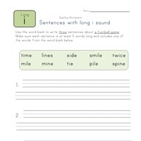 sentences with long i words worksheet
