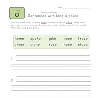 sentences with long o words worksheet