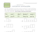 contractions puzzle worksheet