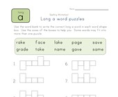 long a word puzzle worksheet