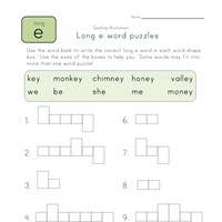 long e and ey word puzzle worksheet