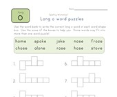 long o word puzzle worksheet
