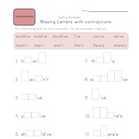 missing letters in contractions worksheet