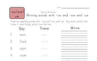 say, trace and write -oo, -ew and -ue words worksheet