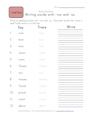 Spelling Worksheets For Words With Ow And Ou Pattern All Kids