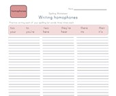 writing homophones worksheet