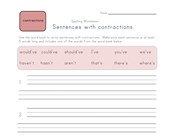 sentences with contractions worksheet