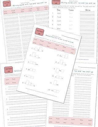spelling oo, ew and ue words worksheet