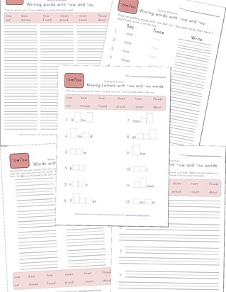 spelling -ow and -ou words worksheet