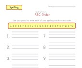 customizable abc order spelling worksheet