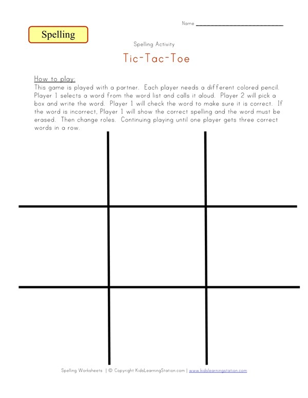Tic Tac Toe Spelling Game | All Kids Network