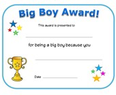 big boy award certificate