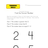 thinking activity worksheet numbers