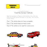 thinking activity worksheet vehicles