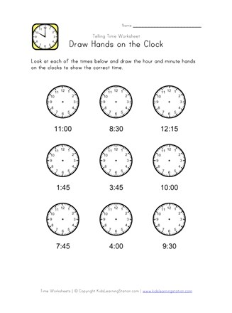 Draw Hands On Clock 15 Minute Intervals All Kids Network