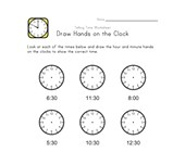 Draw Hands on Clock - 30 Minute Intervals