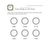 Draw Hands on Clock - 5 Minute Intervals