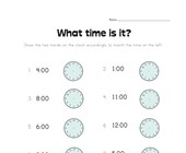 Draw Hands on Clock Worksheet - Full Hours